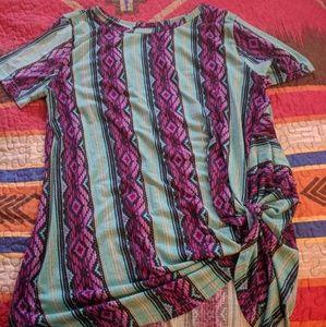 Aztec print tie-knot shirt